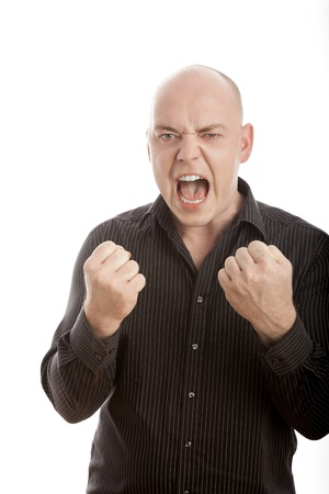 bald man win and scream with arms in the air