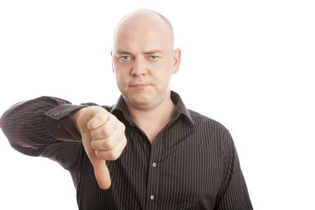 bald men: Bald man with black shirt thumb down Stock Photo