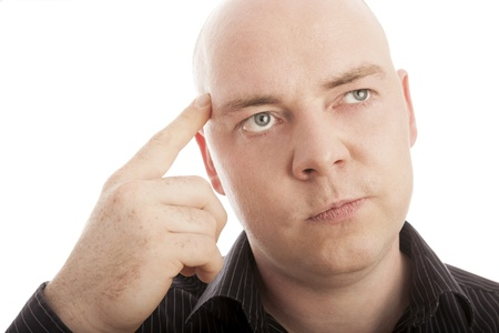 bald man with finger thinking on idea photo
