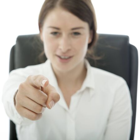 young brunette business woman want you sign Stock Photo - 14724976