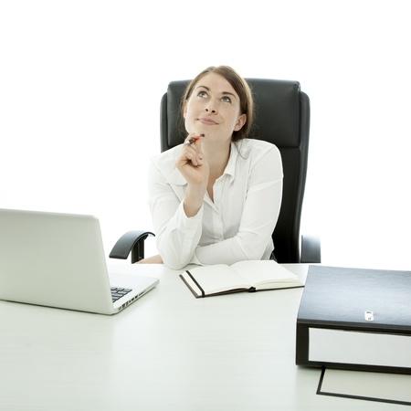 jonge vrouw wordt na te denken over idee Stockfoto