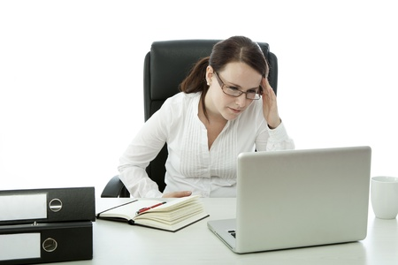 young brunette business woman with glasses has headache Stock Photo - 14724974