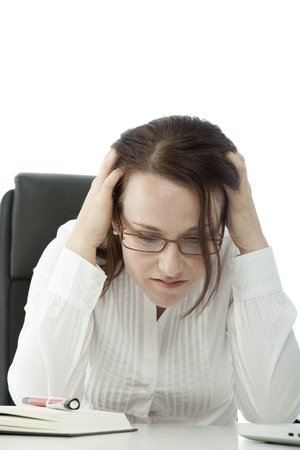 young brunette business woman with glasses is frustrated Stock Photo - 14724989