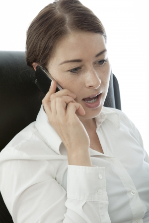 young brunette business woman call cell phone photo