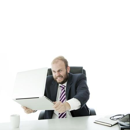 beard business man want crash laptop photo