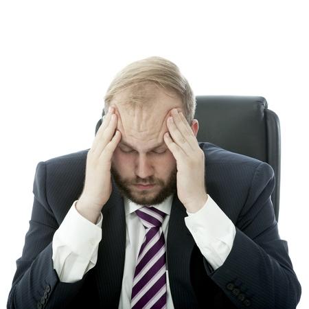 beared business man headache