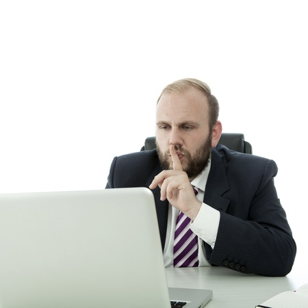 beard business man sign quiet  person in laptop photo