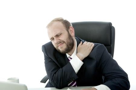 baard zakenman nekpijn Stockfoto