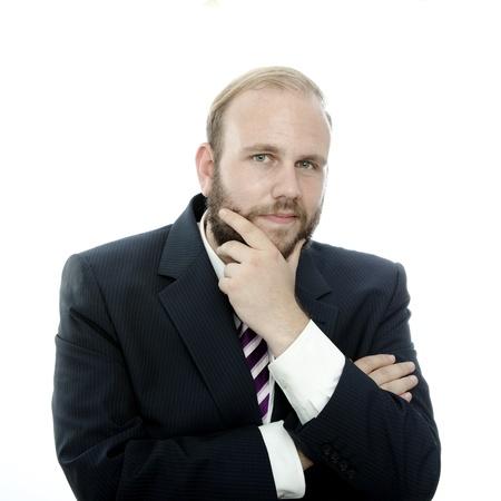 beard business man think