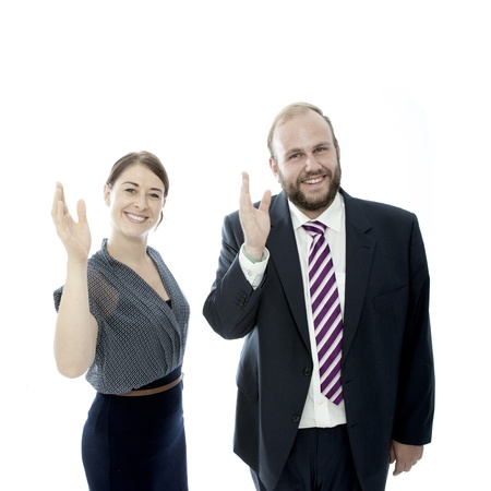 young brunette woman and beard business man waveing