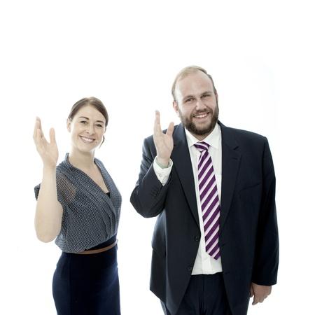 beard woman: young brunette woman and beard business man waveing
