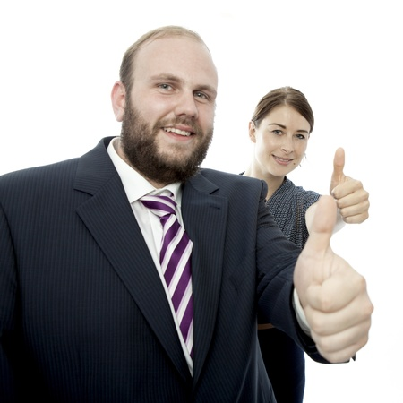 young brunette woman and beard business man thumb up photo
