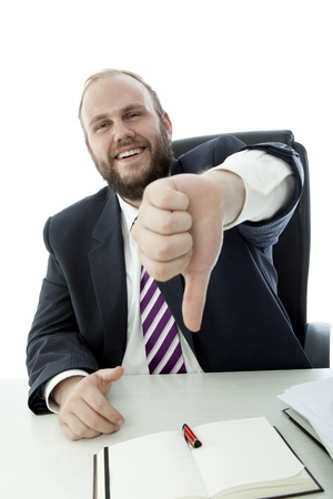 beard business man desk thumb down Stock Photo - 14899240