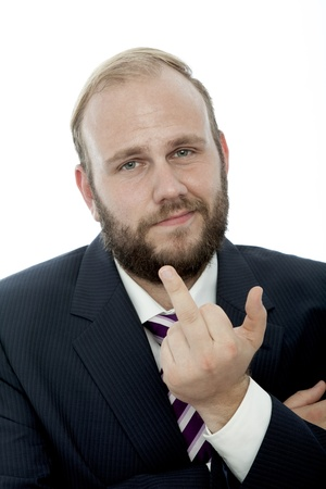 beard business man  middle finger Stock Photo - 14899268