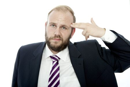 beard business man with finger gun on head photo