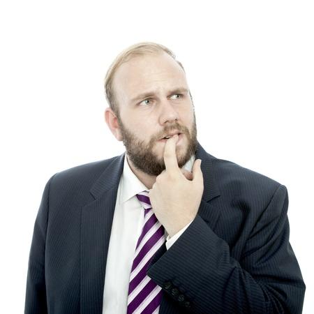 beard business man thinking and unsure Stockfoto