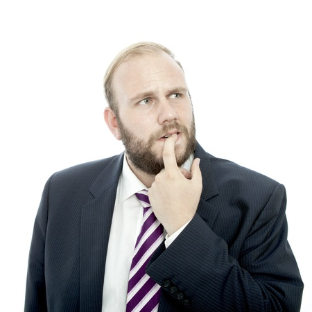 beard business man thinking and unsure Stock Photo