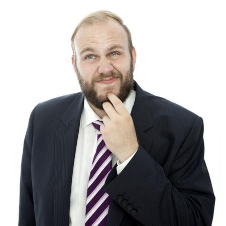 beard business man solving problem
