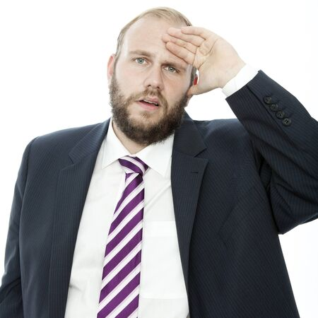 beard business man with hand on head frustrated photo