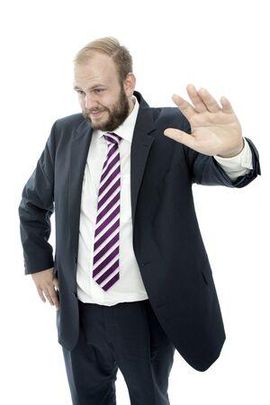 unsuspecting: beard business man is unsuspecting Stock Photo