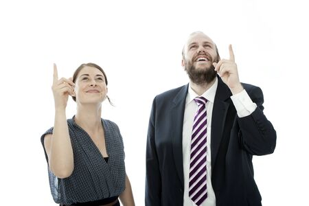 beard woman: young brunette woman and beard business man shows up Stock Photo