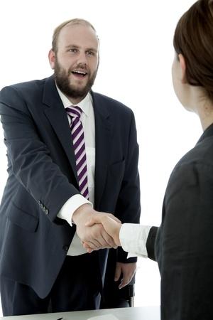 beard woman: beard business man brunette woman at desk