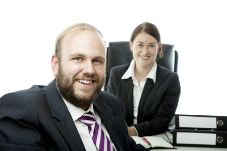 beard woman: beard business man brunette woman at desk smile