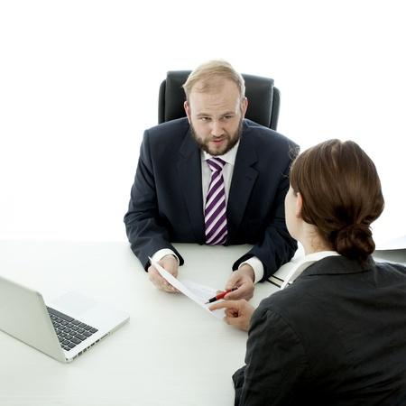 beard woman: beard business man brunette woman at desk signing contract