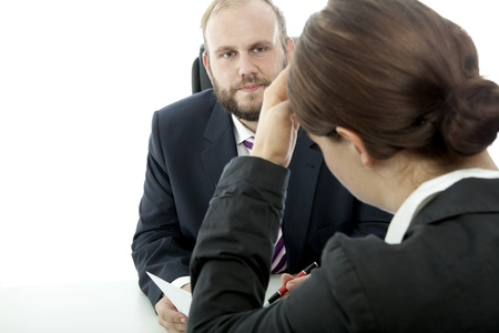 beard business man brunette woman at desk unwell of contract photo