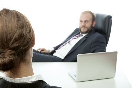 beard business man brunette woman at desk ignore photo
