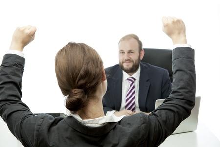 baard zakenman brunette vrouw op het bureau gelukkig Stockfoto