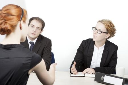 Portret van Business mensen bespreken op kantoor Stockfoto