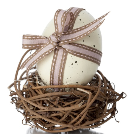 easteregg: EasterEgg tied in a bow with ornamental ribbon balanced on a small nest of interwoven twigs against a white studio background