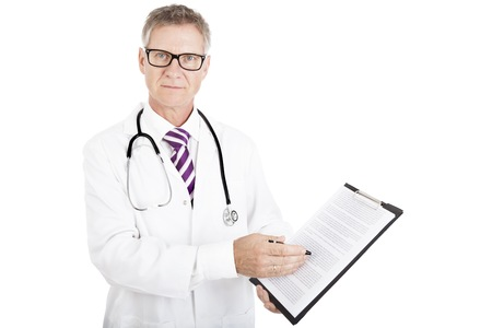informed: Health Professional Showing Medical Reports while Looking at Camera, Isolated White Background Stock Photo