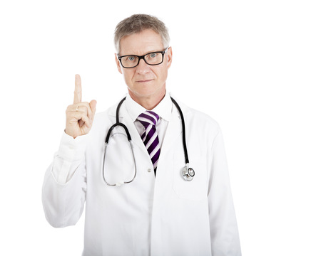 repelling: Serious Physician Showing Number One Hand Sign Emphasizing First White Stethoscope Hanging on Shoulders, Isolated on White