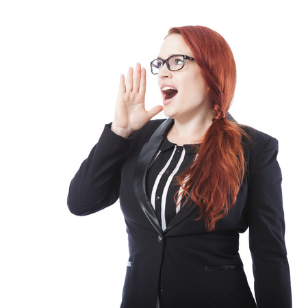woman shouting: young beautiful business woman shout with hands on mouth, isolated on white background