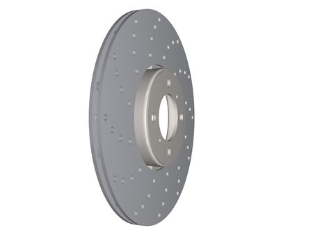 rotor: double disc brake rotor separated on white Stock Photo