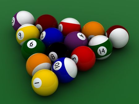 pool balls hight quality on green photo