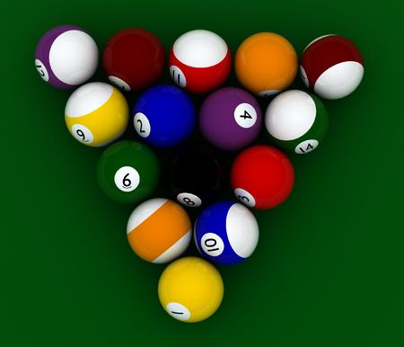 poolball: pool balls hight quality on green