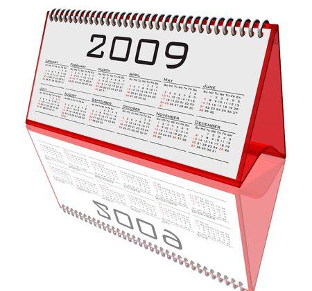 calendario escritorio: Desktop Calendar 2009 en blanco Foto de archivo