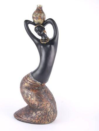 bois �b�ne: pri�res femme - �b�ne statue sur fond blanc