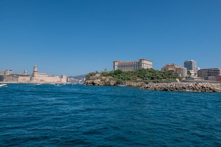 entrance to the old port of Marseille, France. boat ride
