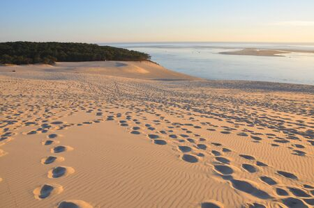 holidays around the Arcachon bay and the pilat dune, France.summer evening on the beach