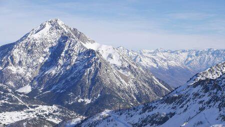snowy landscape of Montgenvre in the high Alps in winter, france Banque d'images