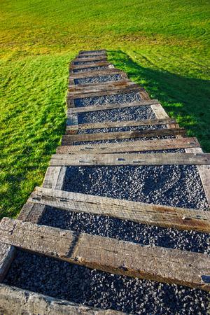 bajando escaleras: stairs going down into nature Foto de archivo