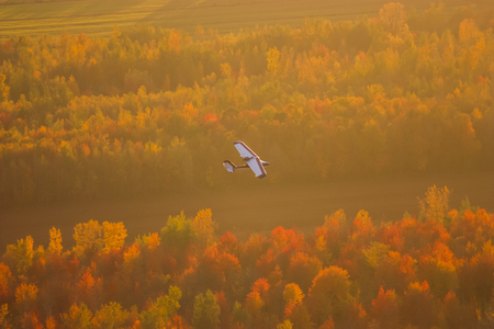 plane flying over a forest in fall