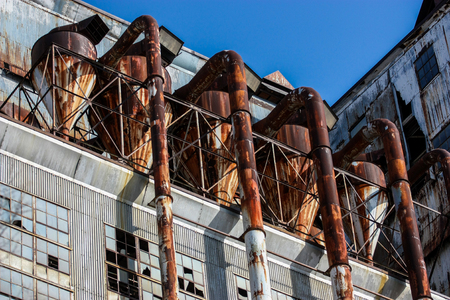 antique factory: Abandoned old manufacture building Stock Photo