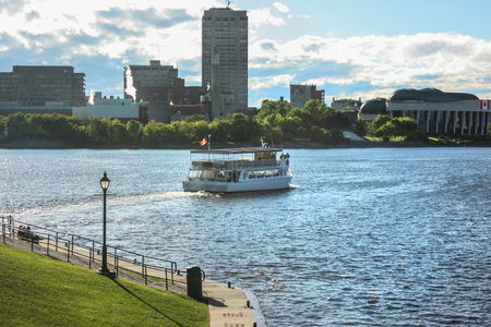 boat on a river in Ottawa Canada Stock Photo