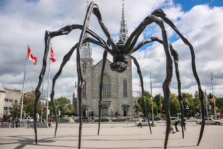 OTTAWA CANADA 09 05 10: Bronze, stainless steel, and marble sculpture by the artist Louise Bourgeois. The sculpture, which depicts a spider, is among the worlds largest, measuring over 30 ft high. Editorial