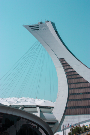 MONTREAL CANADA 08 25 12: Montreal Olympic Stadium tower, Its the tallest inclined tower in the world. Editorial